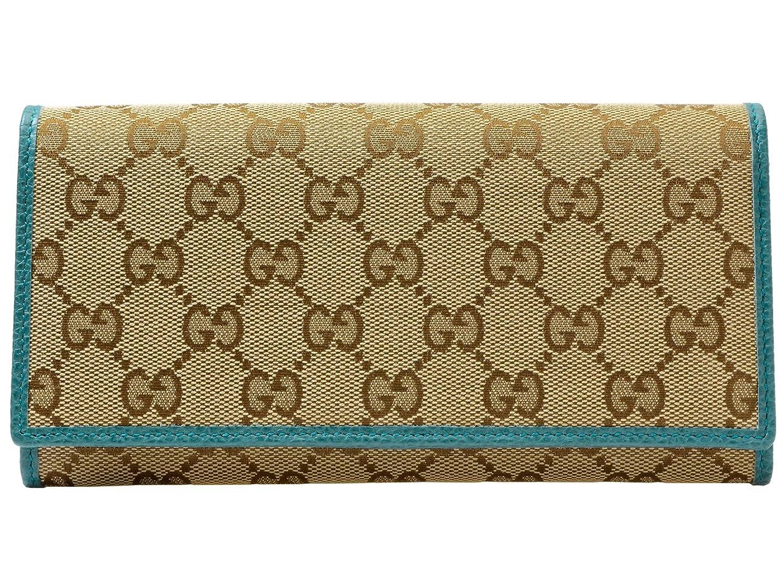 (グッチ) GUCCI 財布 長財布 二つ折り 346058 GGキャンバス アウトレット [並行輸入品] B06XK6HQPSベージュ×コバルトブルー