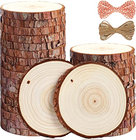 Amazon Com 5arth Natural Wood Slices 30 Pcs 3 5 4 Inches Craft Unfinished Wood Kit Predrilled With Hole Wooden Circles For Arts Wood Slices Christmas Ornaments Diy Crafts