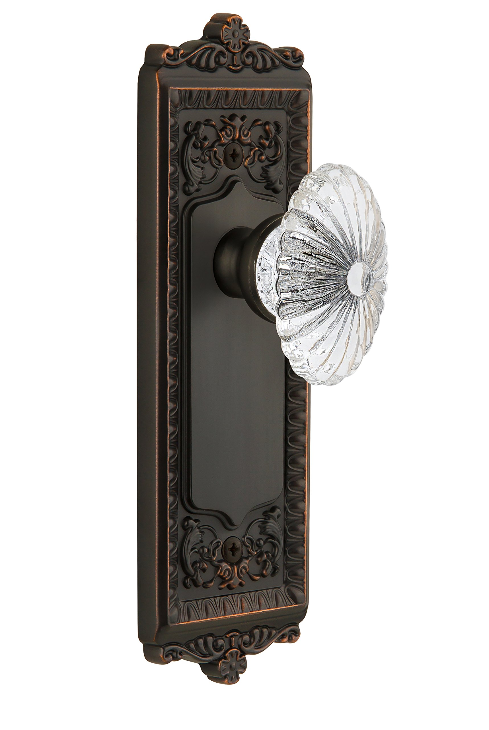 Grandeur Windsor Plate with Burgundy Crystal Knob, Passage - 2.375'', Timeless Bronze