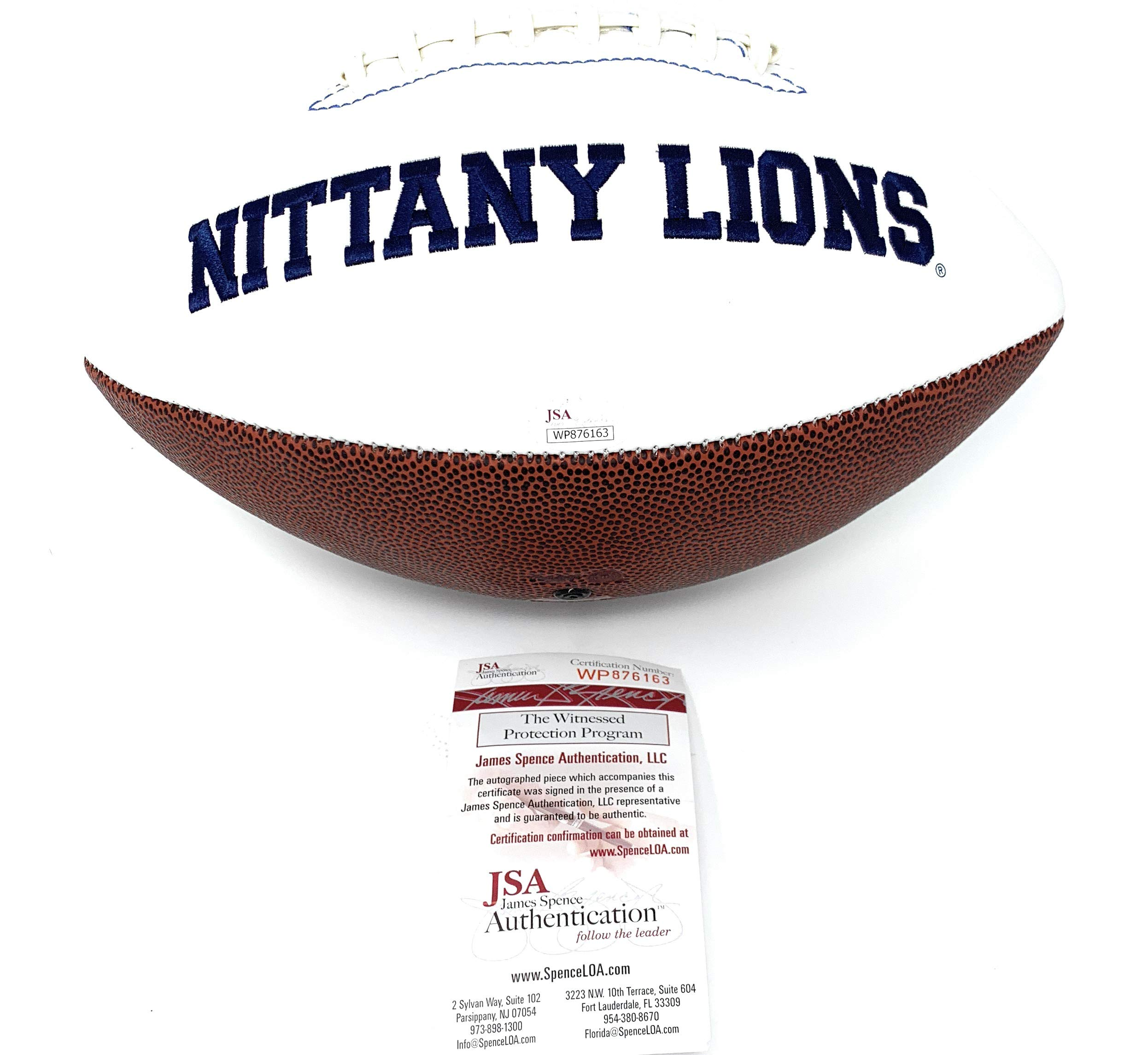 Saquon Barkley Penn State Nittany Lions Vikings Signed Autograph Embroidered Logo Football JSA Witnessed Certified