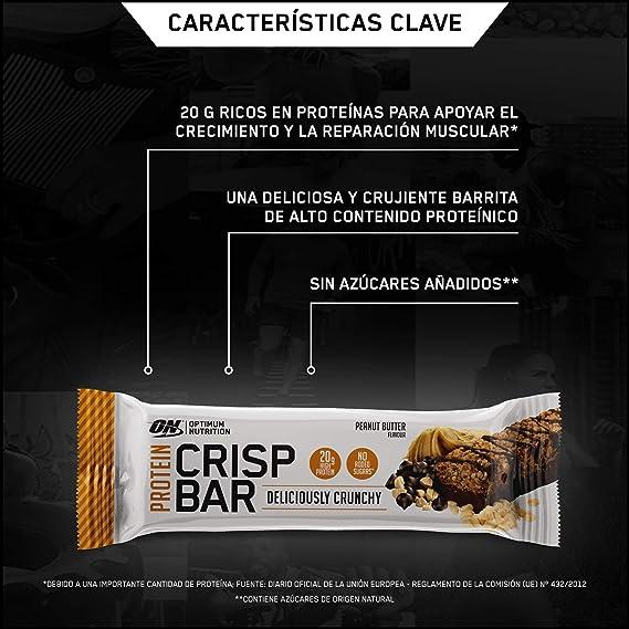 Optimum Nutrition Protein Crisp Bar Barritas Proteínas con Whey Protein Isolate, Dulces Altas en Proteína y Low Carb, Peanut Butter, 10 Barras (10 x ...