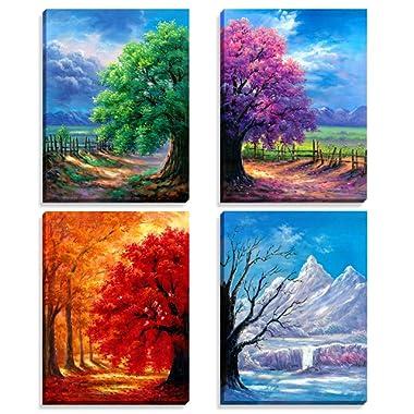 Nuolanart- 4 Seasons Modern Landscape 4 Panels Framed Canvas Print Wall Art, Ready to Hang -P4L3040X4-03
