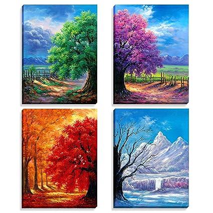 Amazon.com: Nuolanart- 4 Seasons Modern Landscape 4 Panels Framed ...