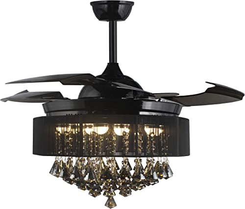 42 Inches Drum Black Shade Pendant Lamp Clear Retractable Invisible Blades LED Ceiling Fan Remote Control 4000K Cool White Not Dimmable Smoke Crystal Chandelier