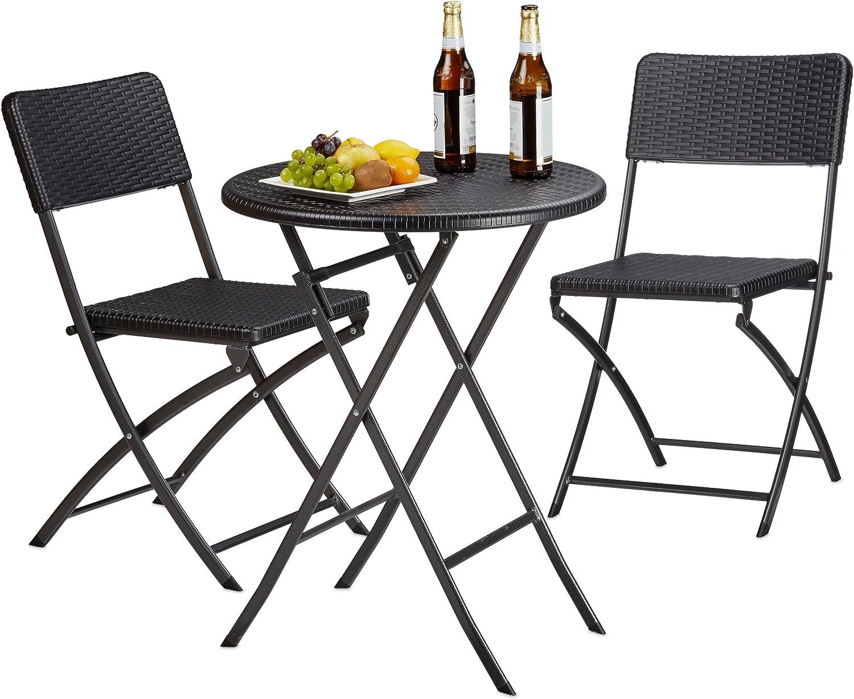 Relaxdays Gartenmöbel Set Bastian, klappbar, 3-teilig, Rattan-Optik, klein, HBT Tisch: 75,5 x 60 x 60 cm, schwarz
