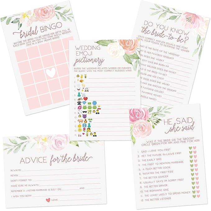 amazon com floral bridal shower games set of 5 games 50 sheets