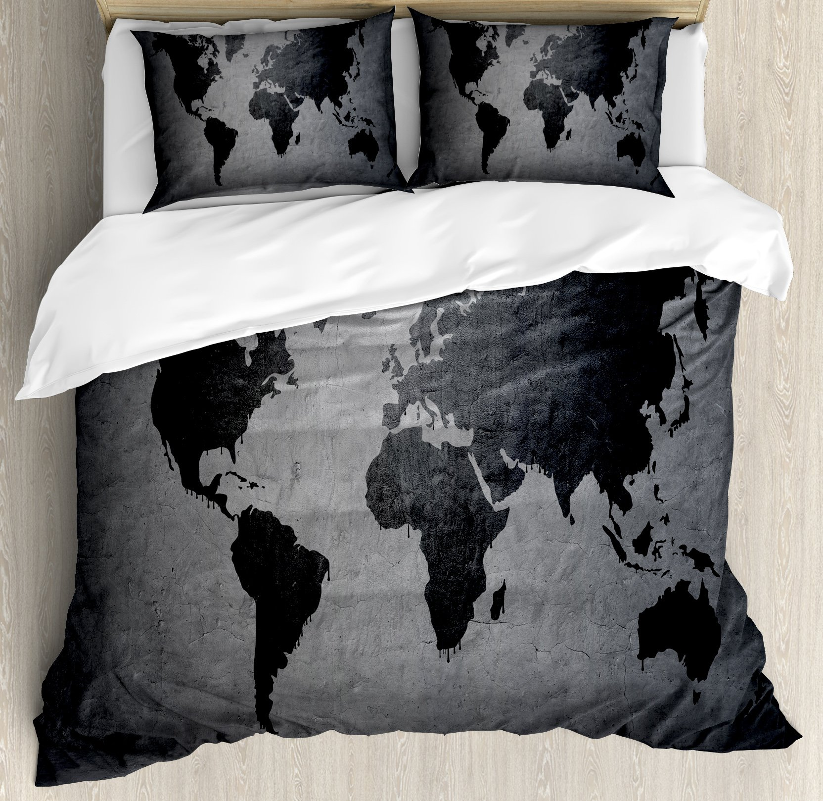 Dark Grey Duvet Cover Set Queen Size by Ambesonne, Black Colored World Map on Concrete Wall Image Urban Structure Grungy Rough Look, Decorative 3 Piece Bedding Set with 2 Pillow Shams, Grey Black