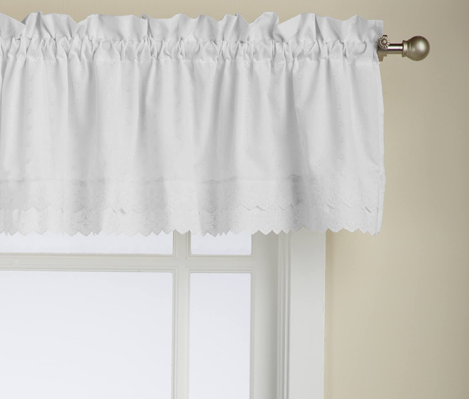 LORRAINE HOME FASHIONS Ribbon Eyelet Valance, 60 by 12-Inch, White
