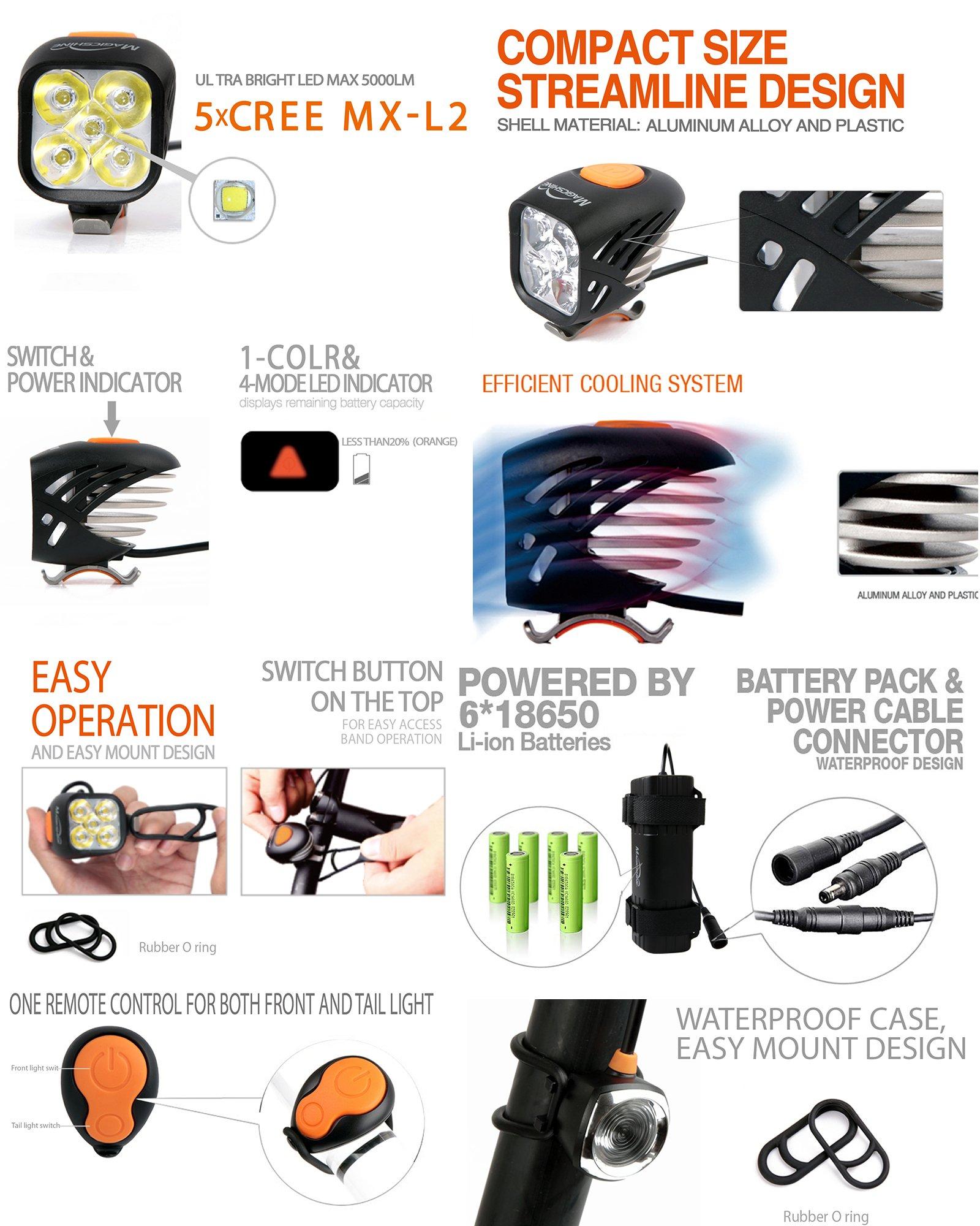 Magicshine MJ 906, High Grade MTB Enduro Bike Light Set, 5000 Lumens of Max output. Wireless Remote Bicycle Lights Front And Rear Combo, LED Bike Tail Light, Perfect Beam Pattern Bright Bike Light by Magicshine (Image #3)