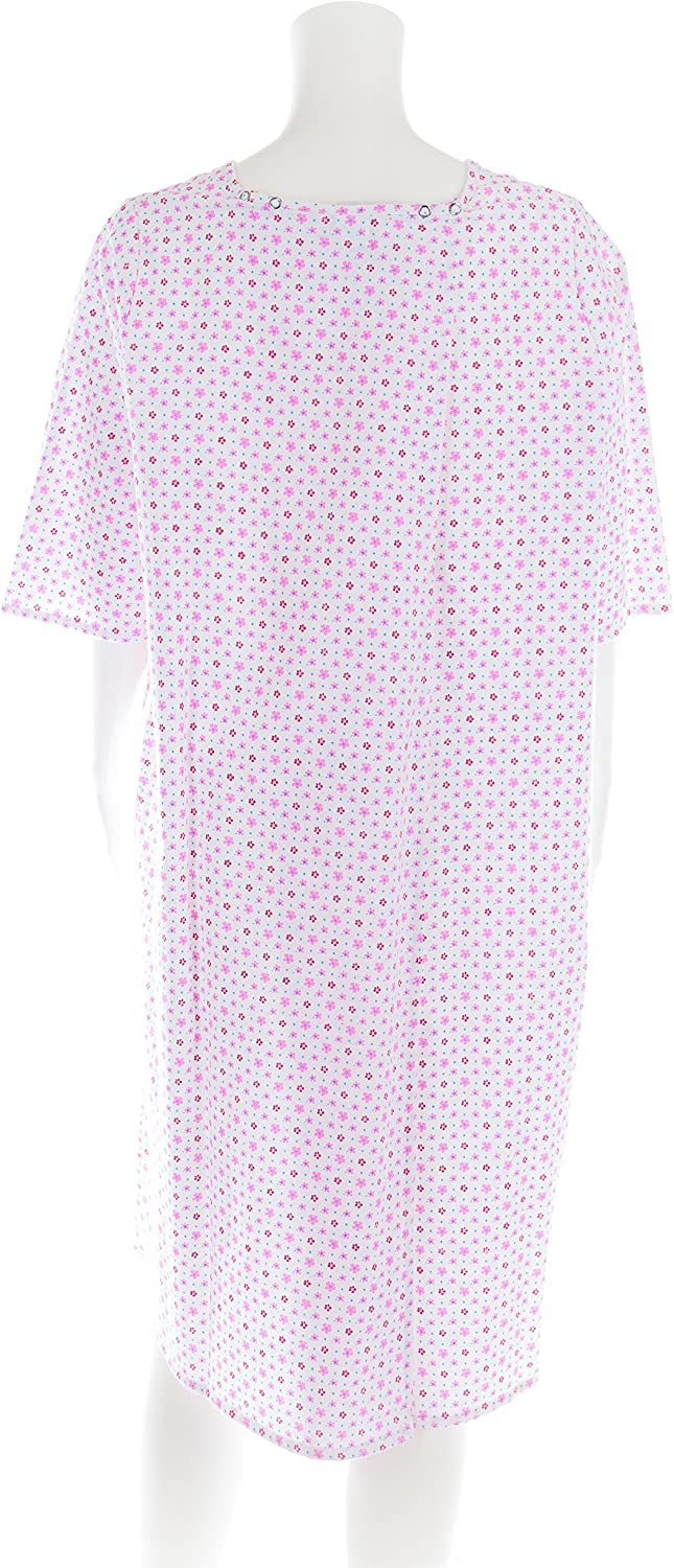 Personal Touch Womens Adaptive Flannel Backwrap Gown White with Small Pink Flowers
