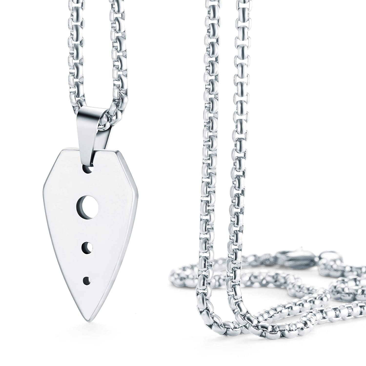 Comes with Chain Necklace Made of Solid Tungsten Material for Him Urban Jewelry Men/'s Pendant Necklace Modern UFO Metal Spear Design in a Polished Silver Finish