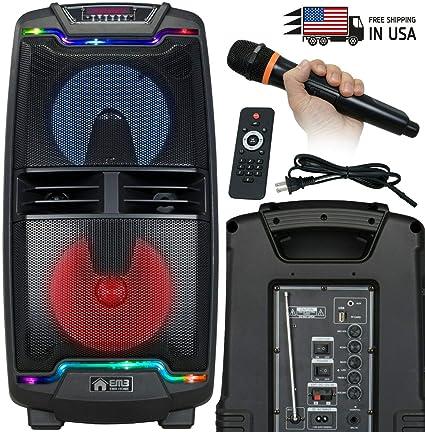 EMB 1000 Watts Rechargeable PARTY PA DJ Speaker w// Light USB MIC Bluetooth