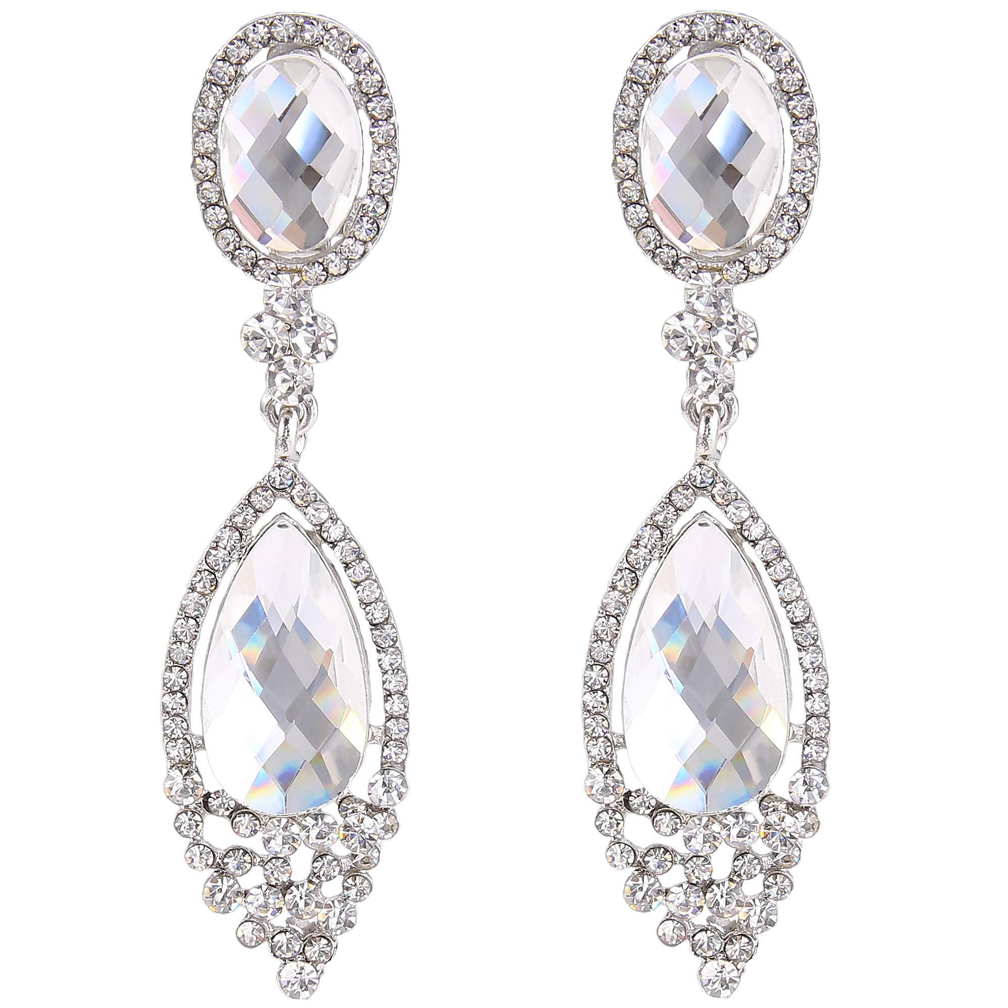 BriLove Wedding Bridal Clip-On Earrings for Women Infinity Figure 8 Crystal Teardrop Chandelier Dangle Earrings Clear Silver-Tone