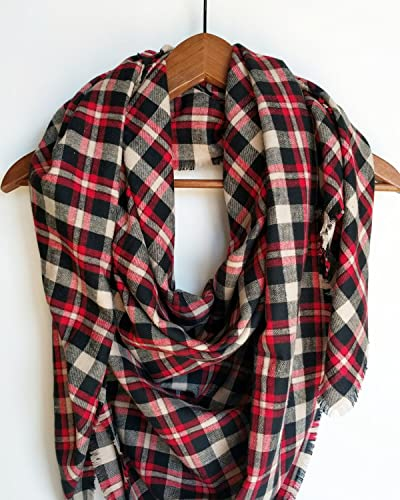 3cb9ab08a Amazon.com: Red Plaid Blanket Scarf Flannel Valentines Day Gift: Handmade