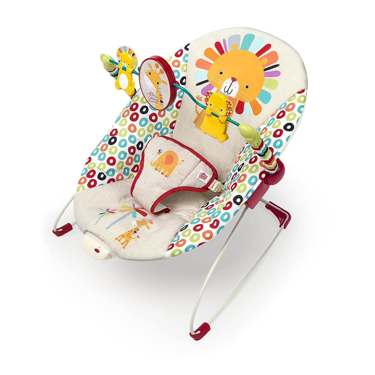 Bright Starts Playful Pinwheels Bouncer Multi-Color Safari Baby Vibrating Seat