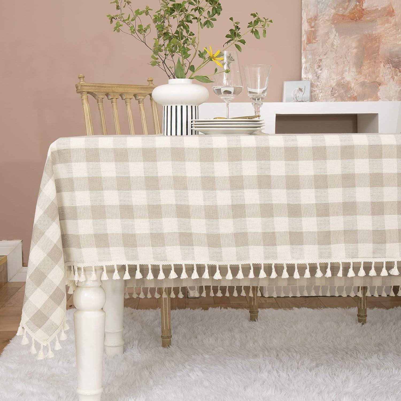 Midsummer Breeze Farmhouse Checkered Tablecloth-Cotton Linen Buffalo Plaid Tablecloth for Fall Winter Thanksgiving Christmas Kitchen Dinning Restaurant Decor (Rectangle/Oblong,52x70,Gray Khaki)