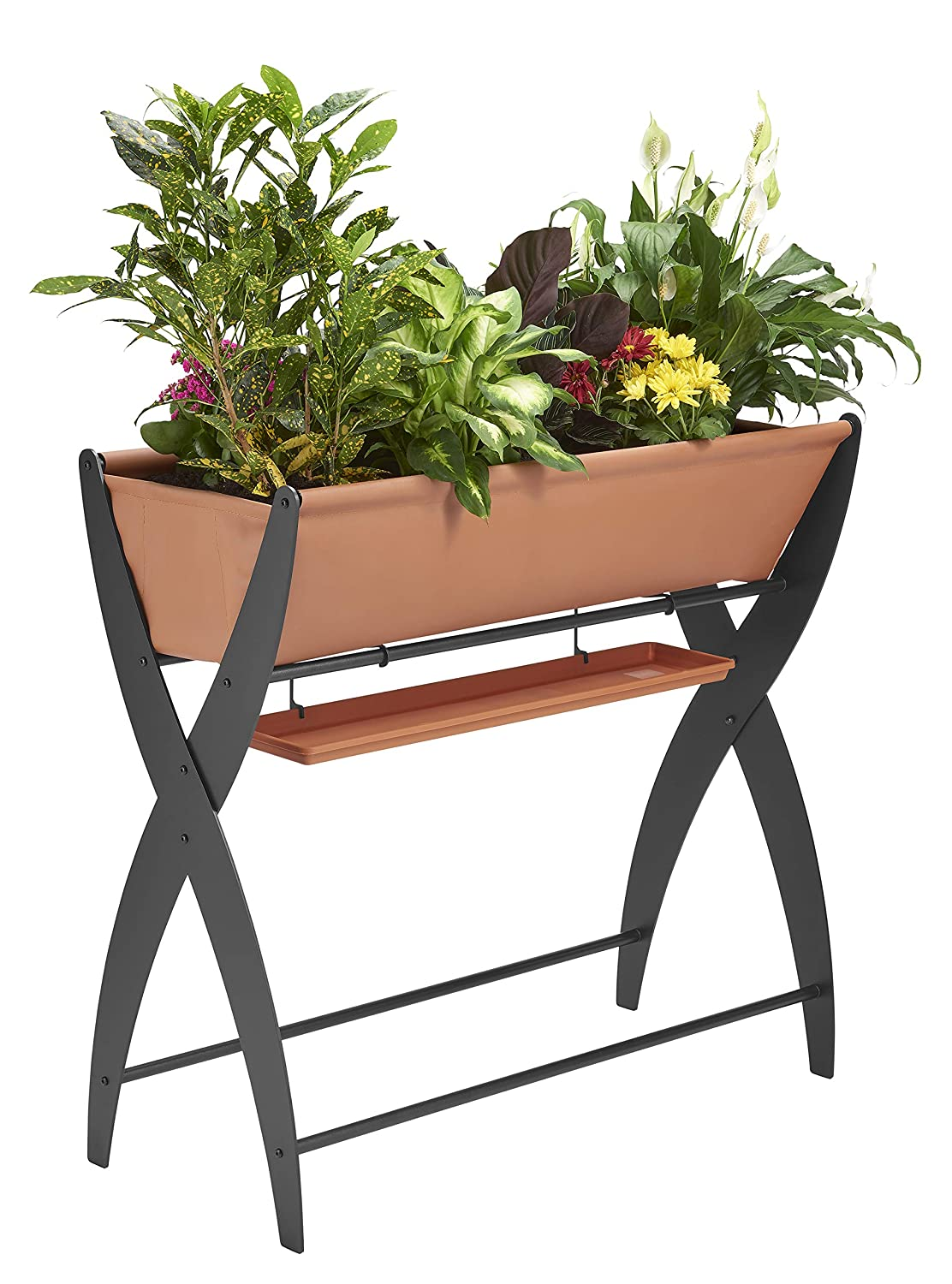 DESIGN SPECIALTIES Raised Garden Bed Trough Planter – Great for Patio Balcony – Indoor Outdoor – Elevated and FREESTANDING to Grow Flowers Vegetables OR Herbs