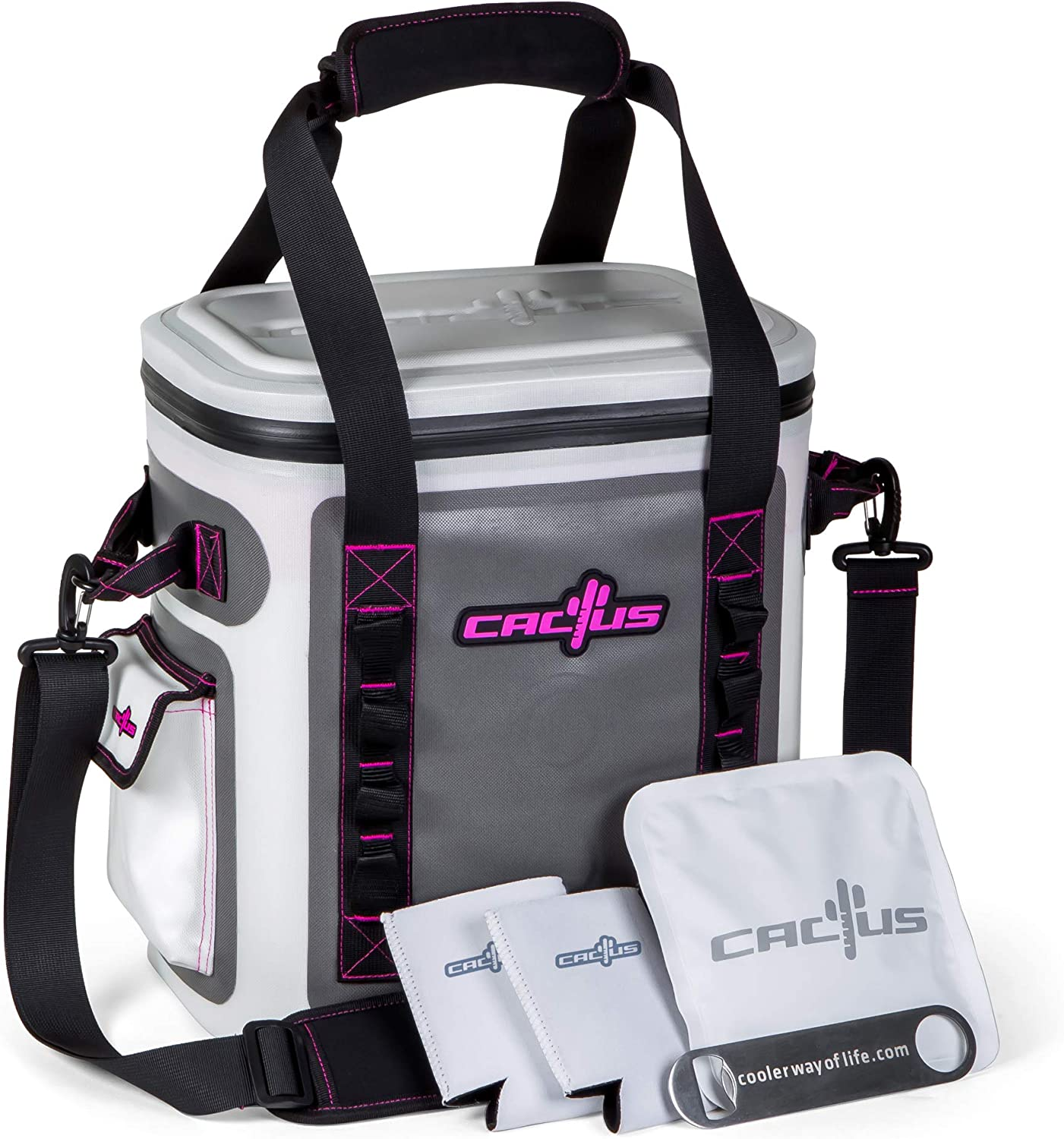 CACTUS Mojave 23 Party Kit – Insulated Soft Cooler Non-Permeable Long Lasting Cold Tech Free Bonus Items Soft Cold Pack, Neo Drink Holders, Stainless Opener w Magnetic Front Panel Cosmo Pink