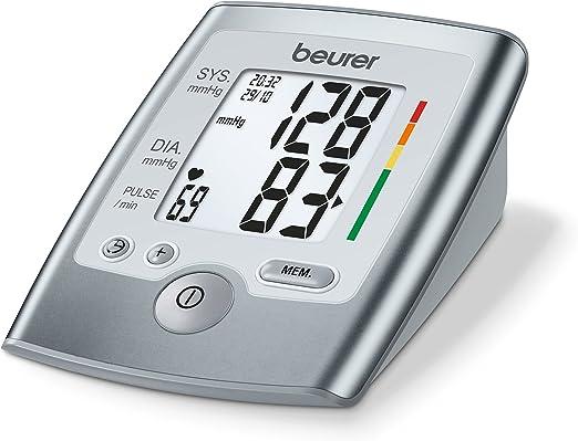 Beurer BM 35 Tensiómetro de brazo, indicador OMS, detección arritmia, gran pantalla LCD, memoria 2 x 60 mediciones, Fecha y hora, color gris, manguito 23 - 33 cm: Amazon.es: Salud y cuidado personal