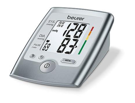 Beurer BM 35 Tensiómetro de brazo, indicador OMS, detección arritmia, gran pantalla LCD, memoria 2 x 60 mediciones, Fecha y hora, color gris, manguito ...