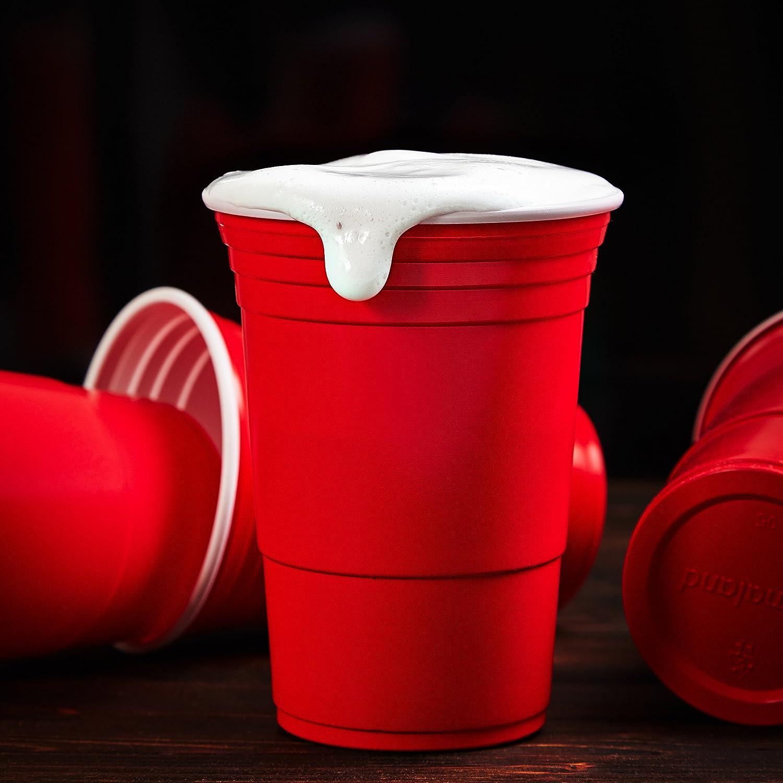 Lumaland Bicchieri Festa Rossi 16 oz Beer pong party 50 pezzi Extra resistenti