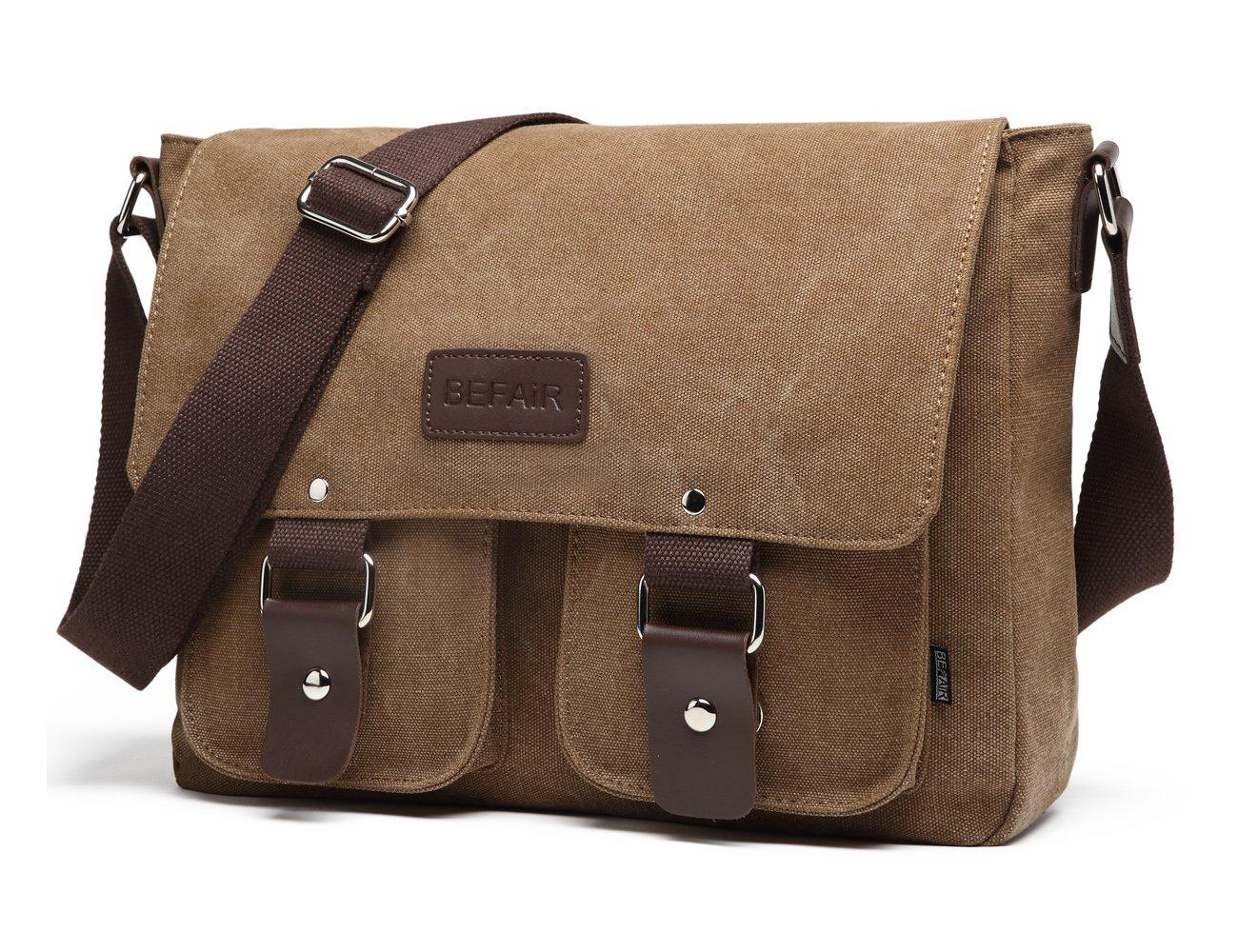 7c97871fa4 Amazon.com  BEFAiR Canvas Messenger Bag Vintage Shoulder Bag Laptop Bag  School Bag Bookbag Travel Bag for Men and Women Coffee  Sports   Outdoors