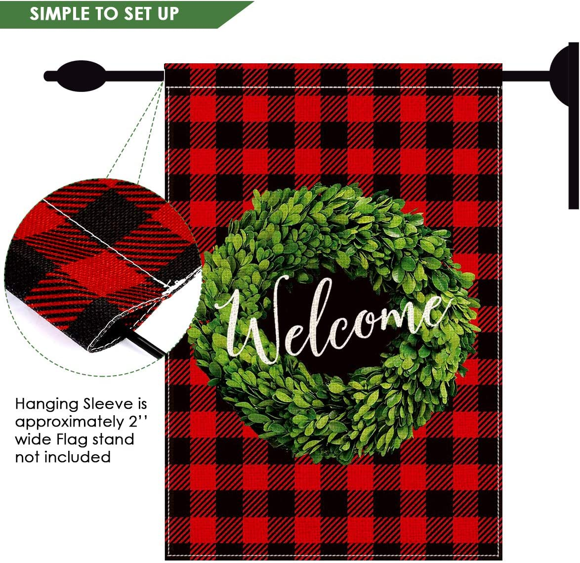 OhhGo Giardino Bandiere casa Giardino Benvenuto Bandiera Verticale Fronte-Retro Vacanze Allaperto Bandiere Giardino Decorazione Esterna per Giardino di casa