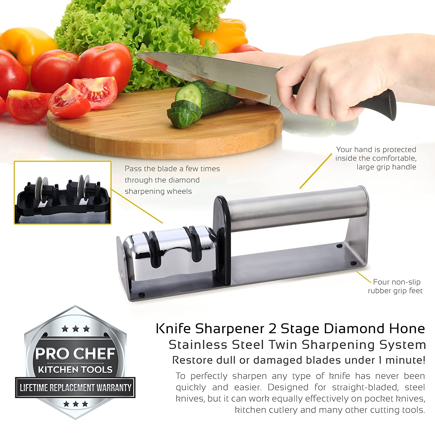 amazon com pro chef kitchen tools stainless steel knife sharpener amazon com pro chef kitchen tools stainless steel knife sharpener 2 stage diamond hone twin sharpening system commercial professional restaurant prime