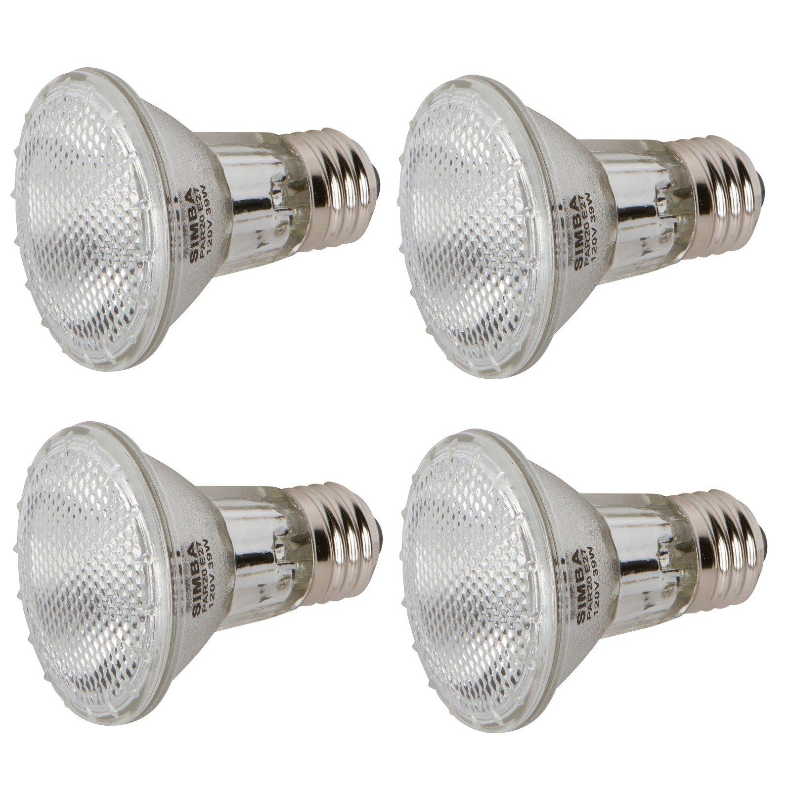 [4 Pack] Simba Lighting™ Halogen 39PAR20/FL 120V 39 Watt PAR20 High Output (50W Equivalent) Narrow Flood PAR 20 Light Bulbs Soft White E26 Medium Base