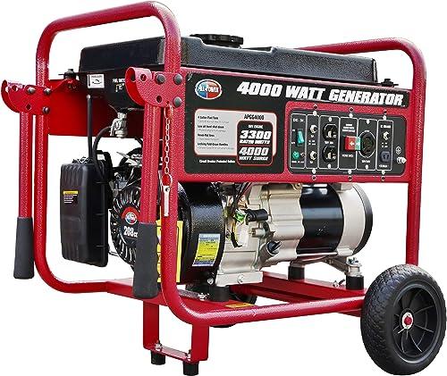 All Power America APGG4000 4000 Watt Portable Generator Gas Powered w Wheel Kit, 4000W