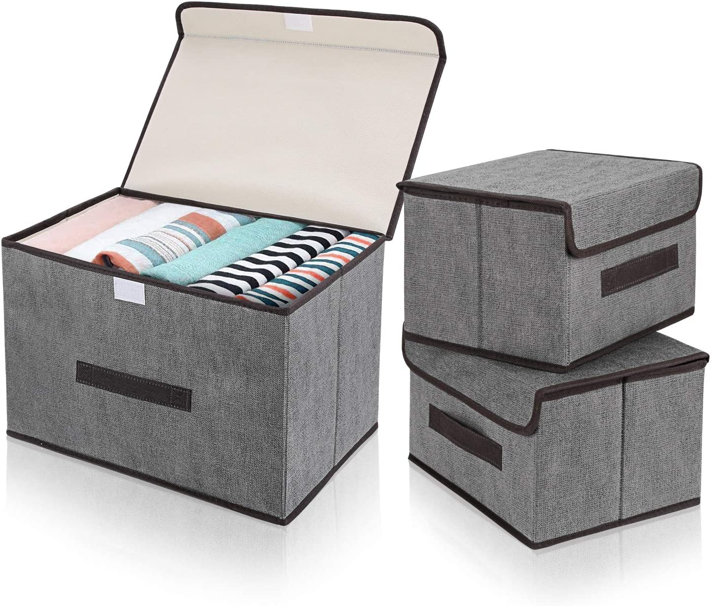 DIMJ 3Pcs Fabric Storage Bins & Storage Box with Flip-top Lid, Collapsible Large Basket Boxes for Books, Clothes, Toys Cubes, Home Bedroom Closet Office Organiser (Grey)