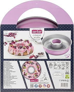 Zenker CREATIVE STUDIO Molde Savarín, Acero con revestimiento antiadherente ILAG, Interior gris y exterior rosa Frozen: Amazon.es: Hogar