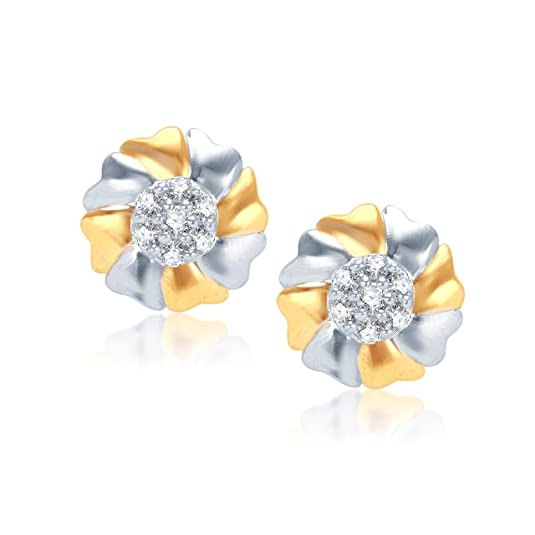 VK Jewels Attractive Flower Gold And Rhodium Plated Alloy Earrings for Women & Girls made with Cubic Zirconia -ER1007G [VKER1007G] at amazon