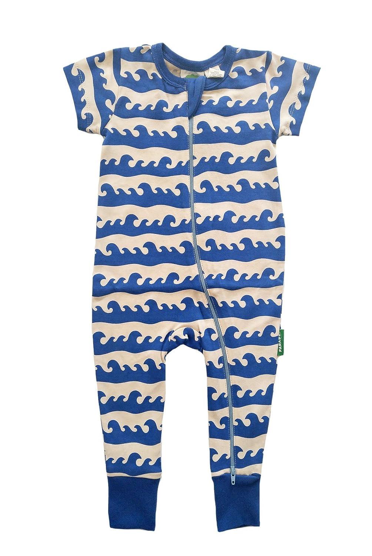 Parade Organics Signature '2 Way' Zipper Romper Short Sleeve Blue Surf 0-3 Months RZ_WAVE0