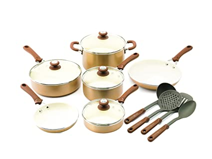Trisha Yearwood Cottage Precious Metals 14 Piece Non Stick Ceramic Cookware Set Copper