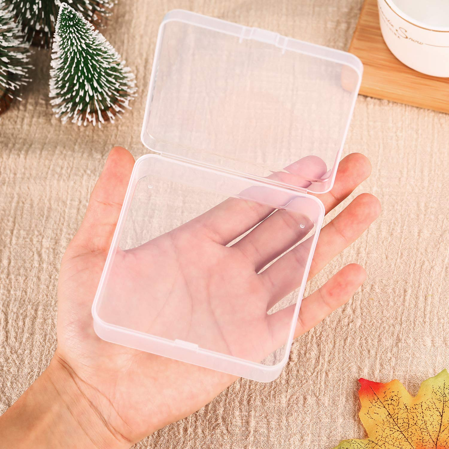 1.37 x 1.37 x 0.7 Pollici SATINIOR 12 Pack Clear Plastic Beads Storage Containers Box with Hinged Lid for Beads And More