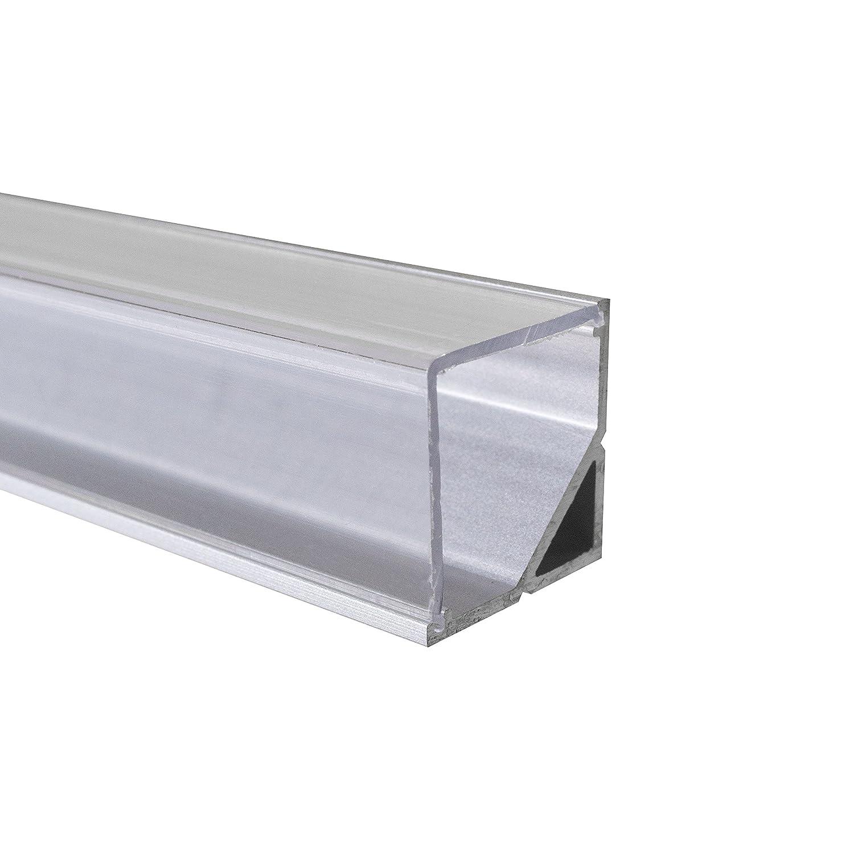 KLAR - 200 cm LED Aluminium Leisten ECKE-90 + 200 cm transparent ...