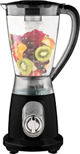 Ovente Professional Smoothies Blender 1.5 Liter Heavy-Duty Stainless Steel Blades with 2 Blending Speed Settings, BPA-Free Blender Jar, 400 Watts Motor, Soft-Touch Handle, Black (BLH1602B)