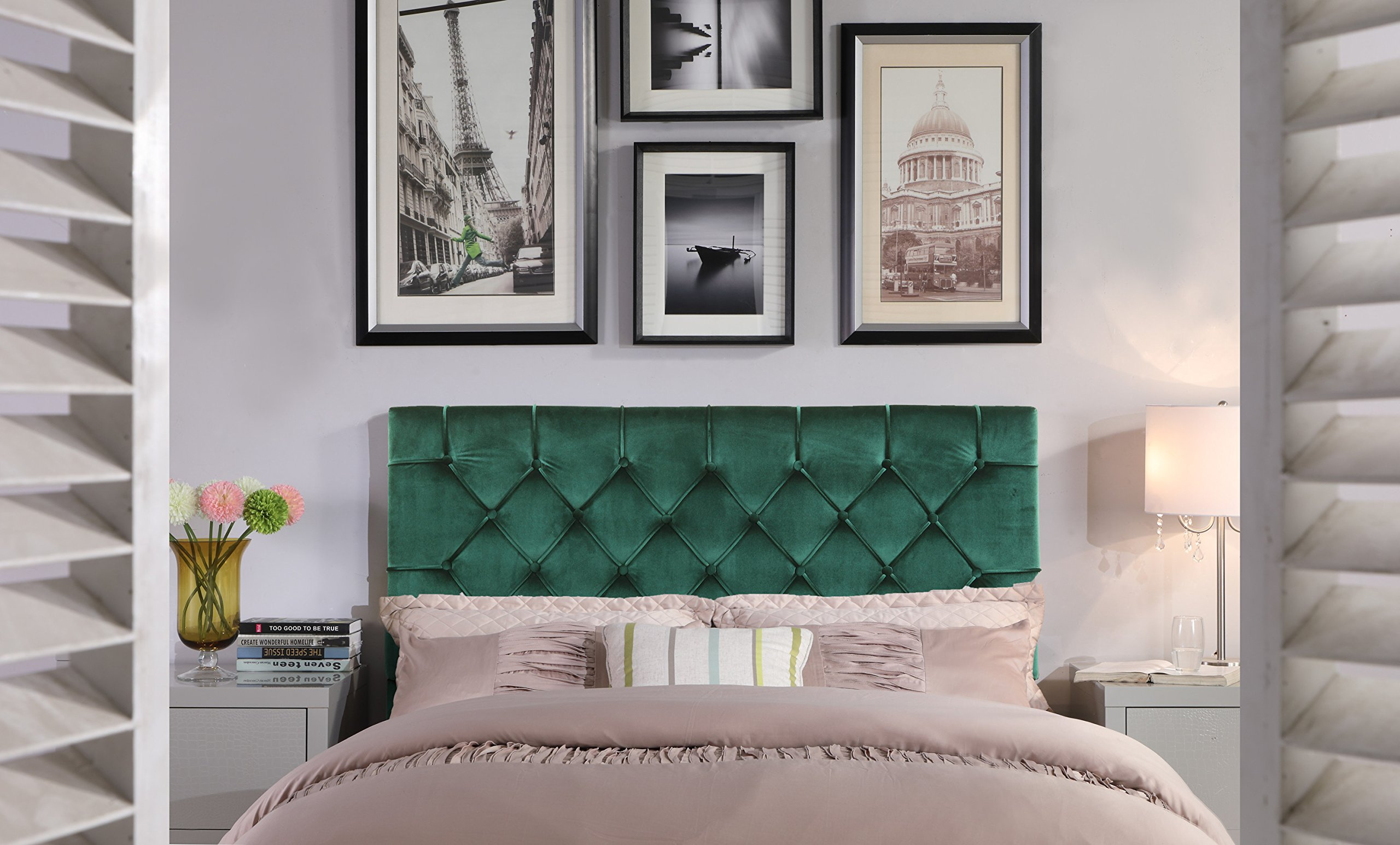 Iconic Home FHB9039-AN Rivka Headboard Velvet Upholstered Diamond Button Tufted Modern Transitional, Twin, Green by Iconic Home