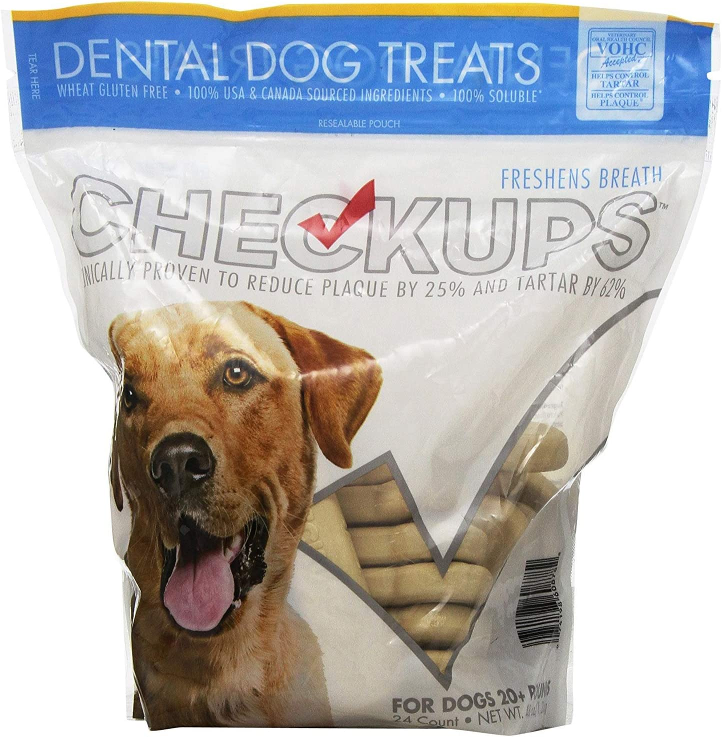 Checkups- Dental Dog Treats, 24ct 48 oz. for Dogs 20 pounds 3Packs