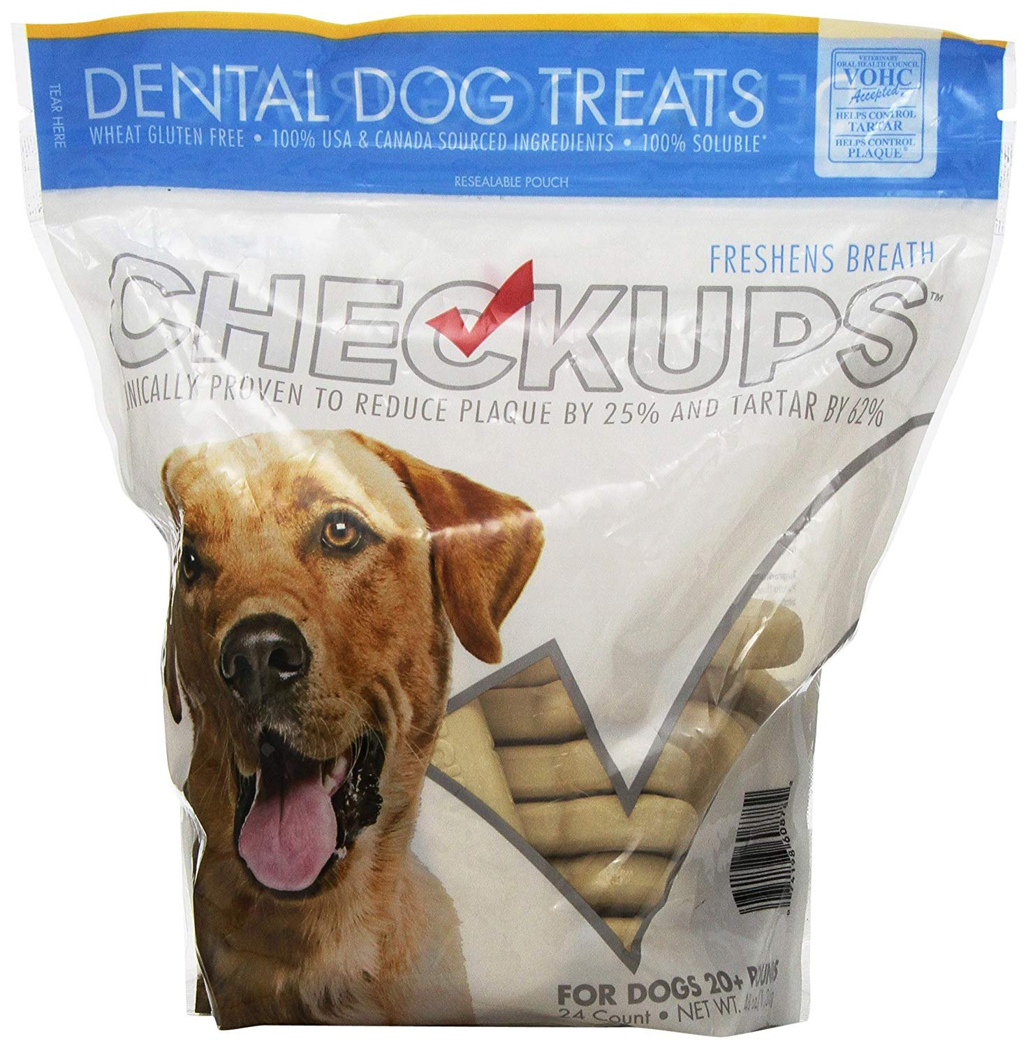 Checkups- Dental Dog Treats, 24ct 48 oz. for Dogs 20 pounds