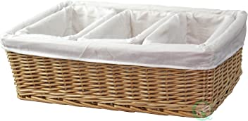 Vintiquewise(TM) Willow Baskets with Fabric Lining, Set of 4
