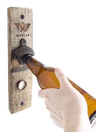 WHELVE – Wall Mounted Bottle Opener with Magnetic Bottle Cap Catcher Functional Rustic Home D cor Upcycled Wood Beer Opener Plaque – Cast Iron Opener