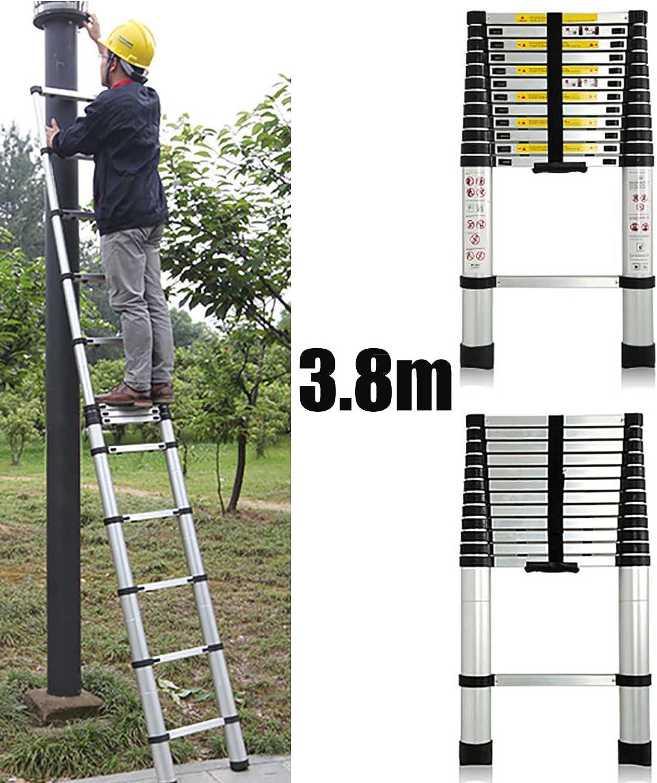3,8 m aluminio telescópico escalera de extensión extensible para Loft oficina en casa 13 paso: Amazon.es: Bricolaje y herramientas
