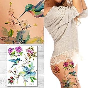 Supperb Temporary Tattoos - Spring flowers & Hummingbird