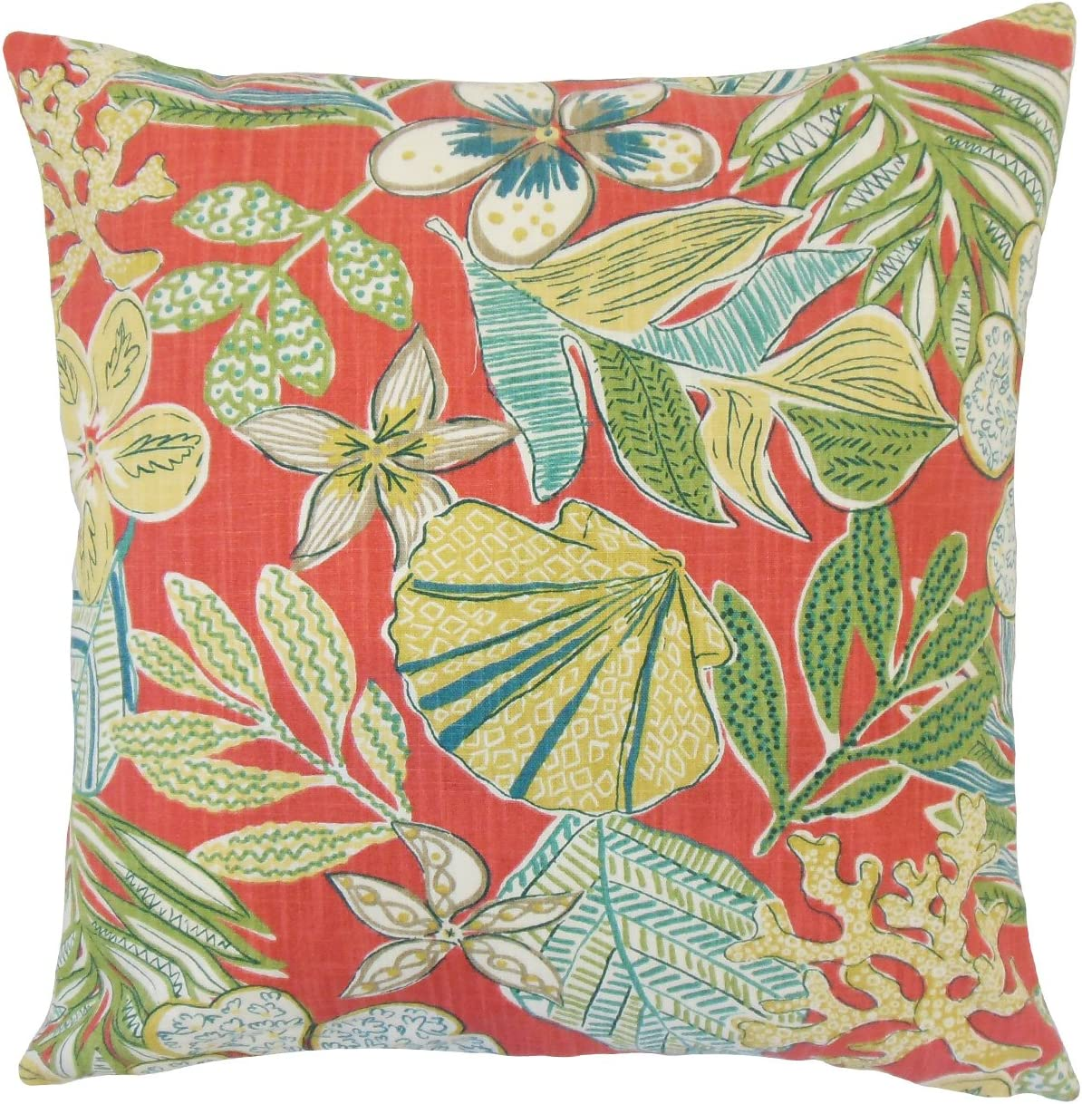Super sale The Pillow Collection Felice Max 85% OFF P18-ROB-MIXEDMOTIFS-CORAL-C100 Flor