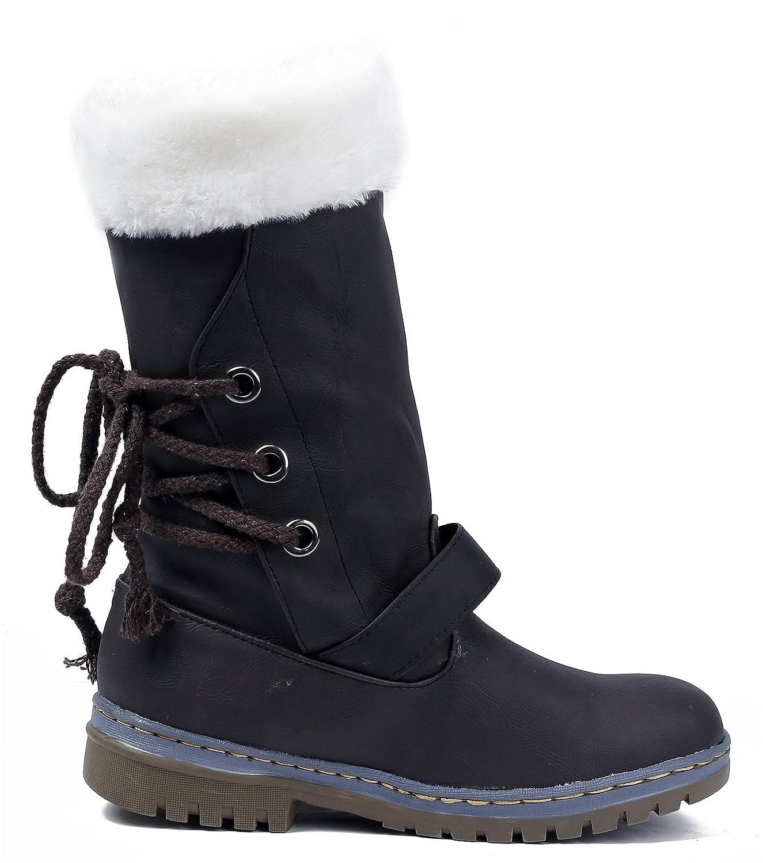 AgeeMi schuhe Damen Rund Schließen Zehe PU Warm Gefütterte Schneestiefel Schneestiefel Schneestiefel fae2d1