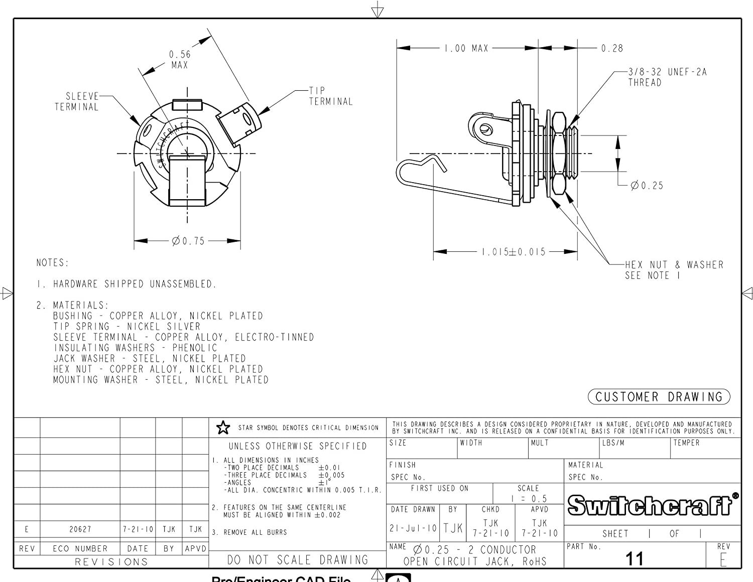 [SCHEMATICS_4LK]  Amazon.com: Switchcraft Type 11 (Pack of 4) Stereo 2-Conductor Input Jack,  1/4
