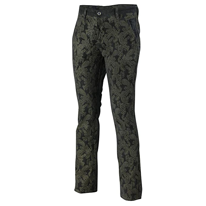 popular style latest style of 2019 discount price Mens Vintage Slim Fit Side Pocket Paisley Printed Soft Velvet Trousers  Chinos
