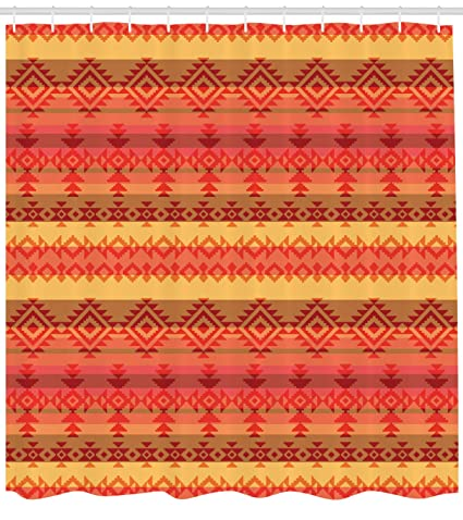 Lunarable Aztec Shower Curtain Native American Pattern With Authentic Rhombus Motifs And Dreamy Colors